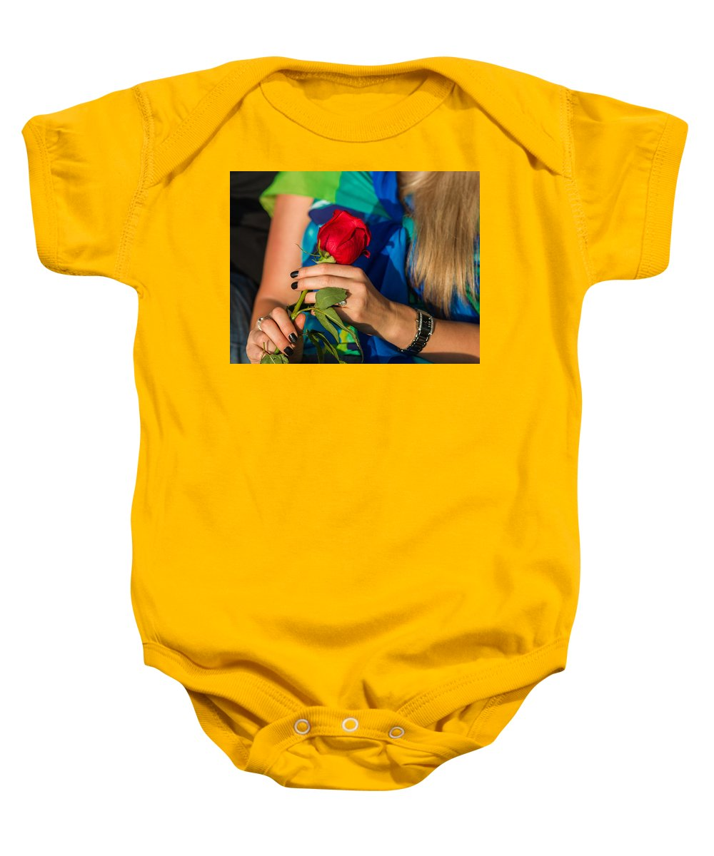 Abstract Baby Onesie featuring the photograph Red Rose - Featured 3 by Alexander Senin