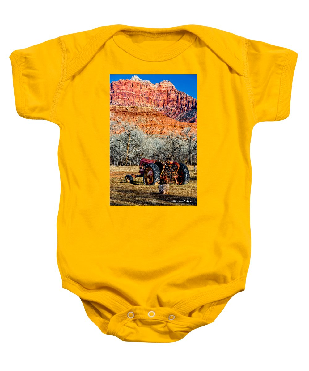 Tractor Baby Onesie featuring the photograph Retired With A View by Christopher Holmes