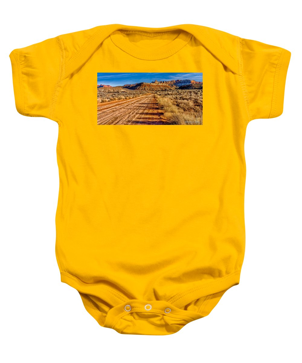 Road Baby Onesie featuring the photograph Road Into Solitude by Christopher Holmes