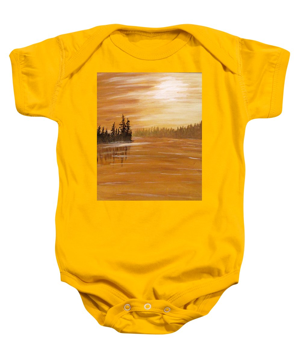 Northern Ontario Baby Onesie featuring the painting Rock Lake Morning 1 by Ian MacDonald