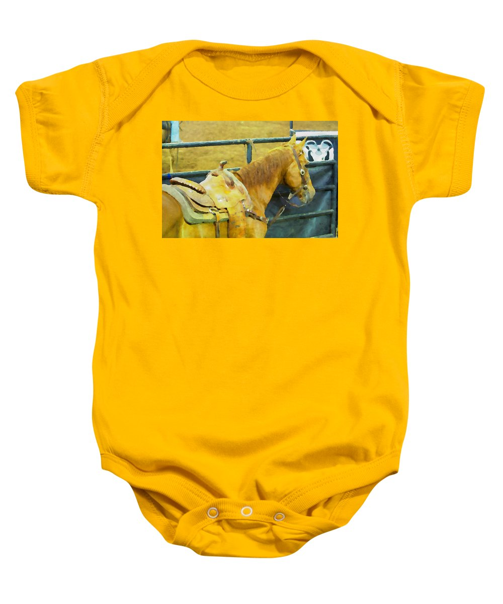Horse Baby Onesie featuring the photograph Rodeo Horse by Alice Gipson