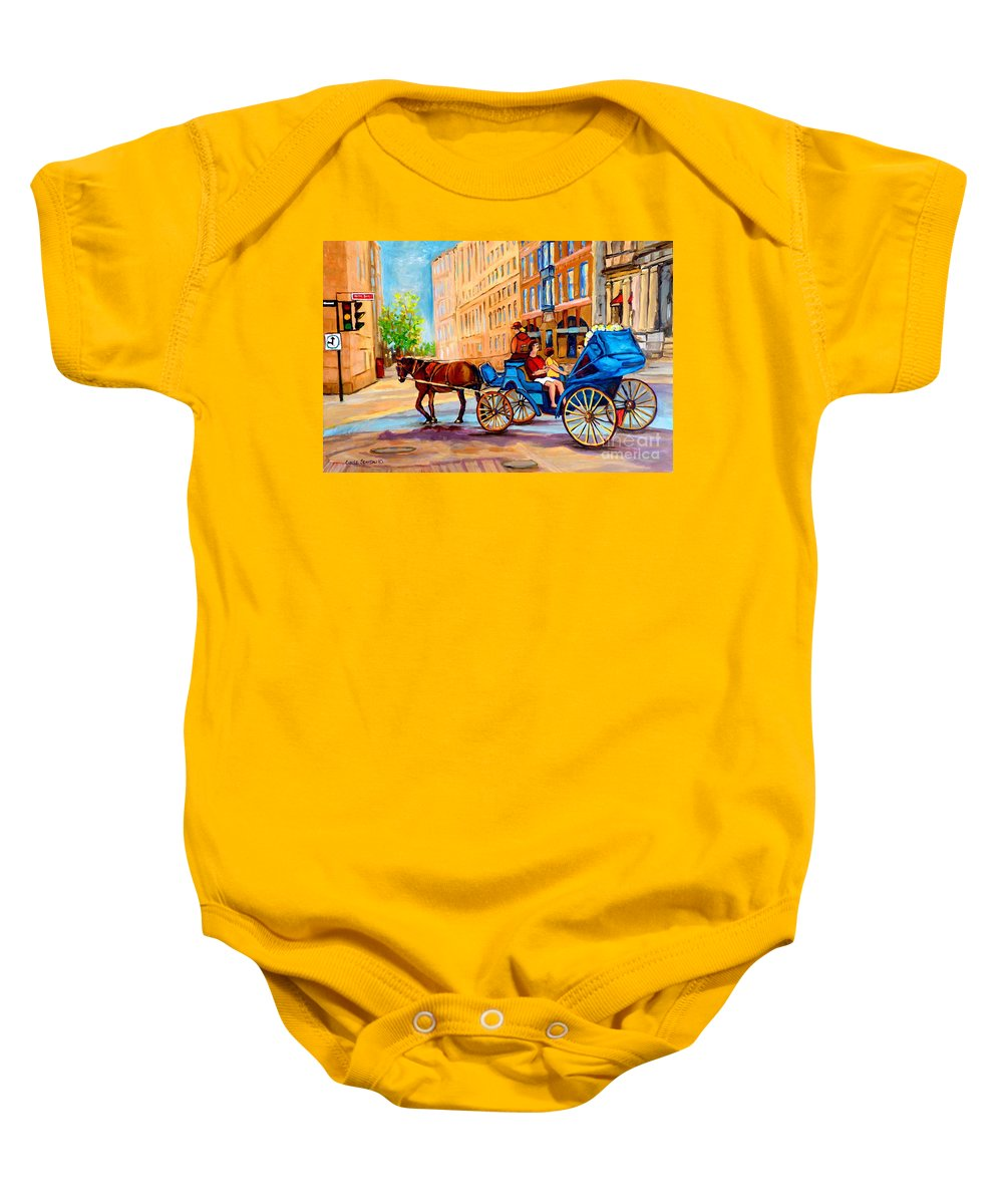 Rue Notre Dame Baby Onesie featuring the painting Rue Notre Dame Caleche Ride by Carole Spandau
