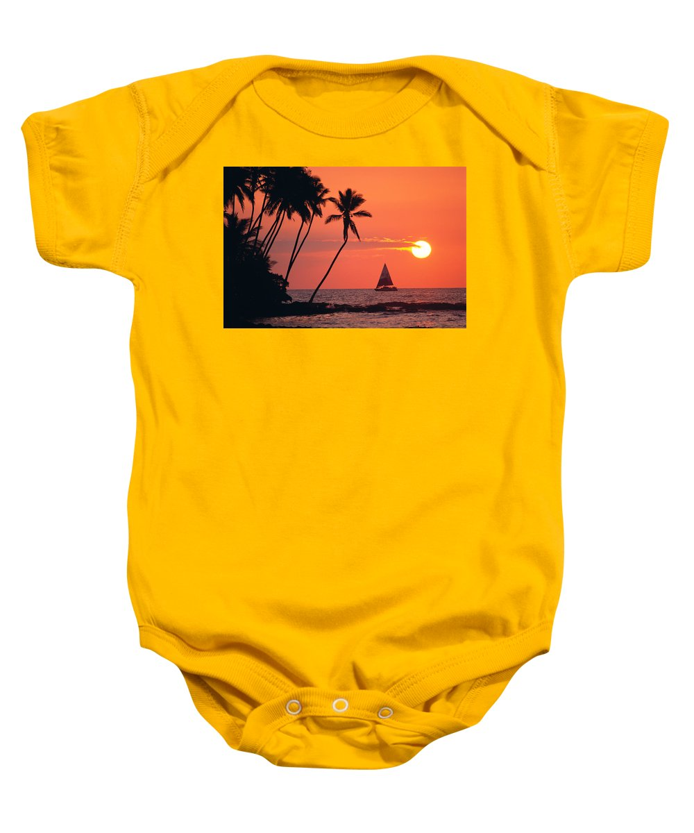 Big Island Baby Onesie featuring the photograph Sailboat At Sunset by Bob Abraham - Printscapes