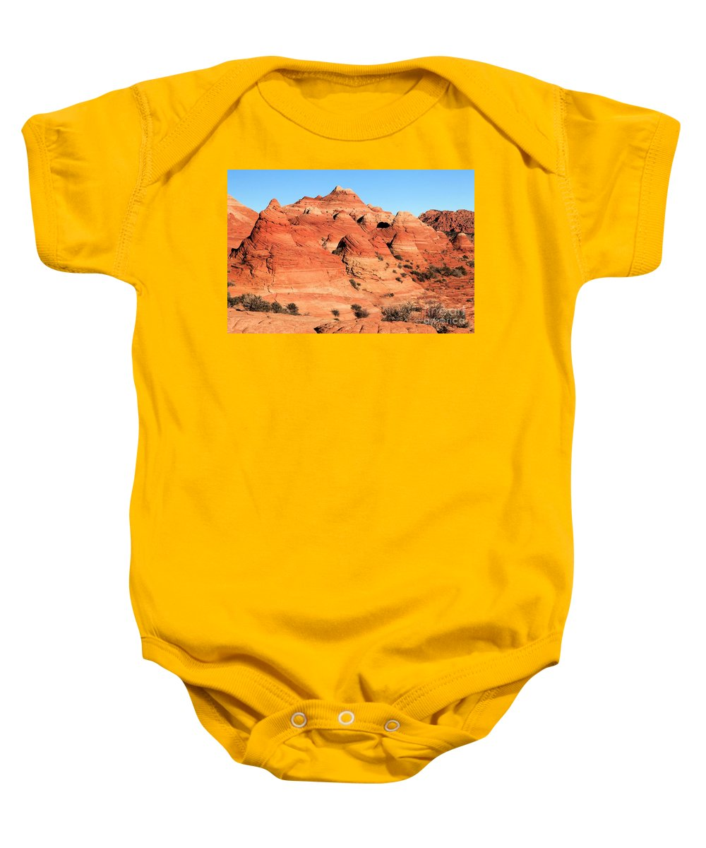 The Wave Baby Onesie featuring the photograph Sandstone Amphitheater by Adam Jewell