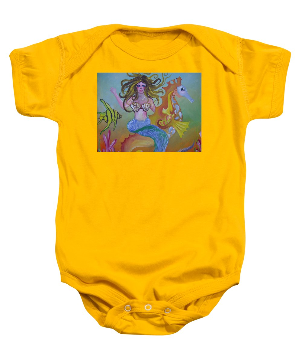 Seahorse Baby Onesie featuring the painting Sea Taxi by Leslie Manley