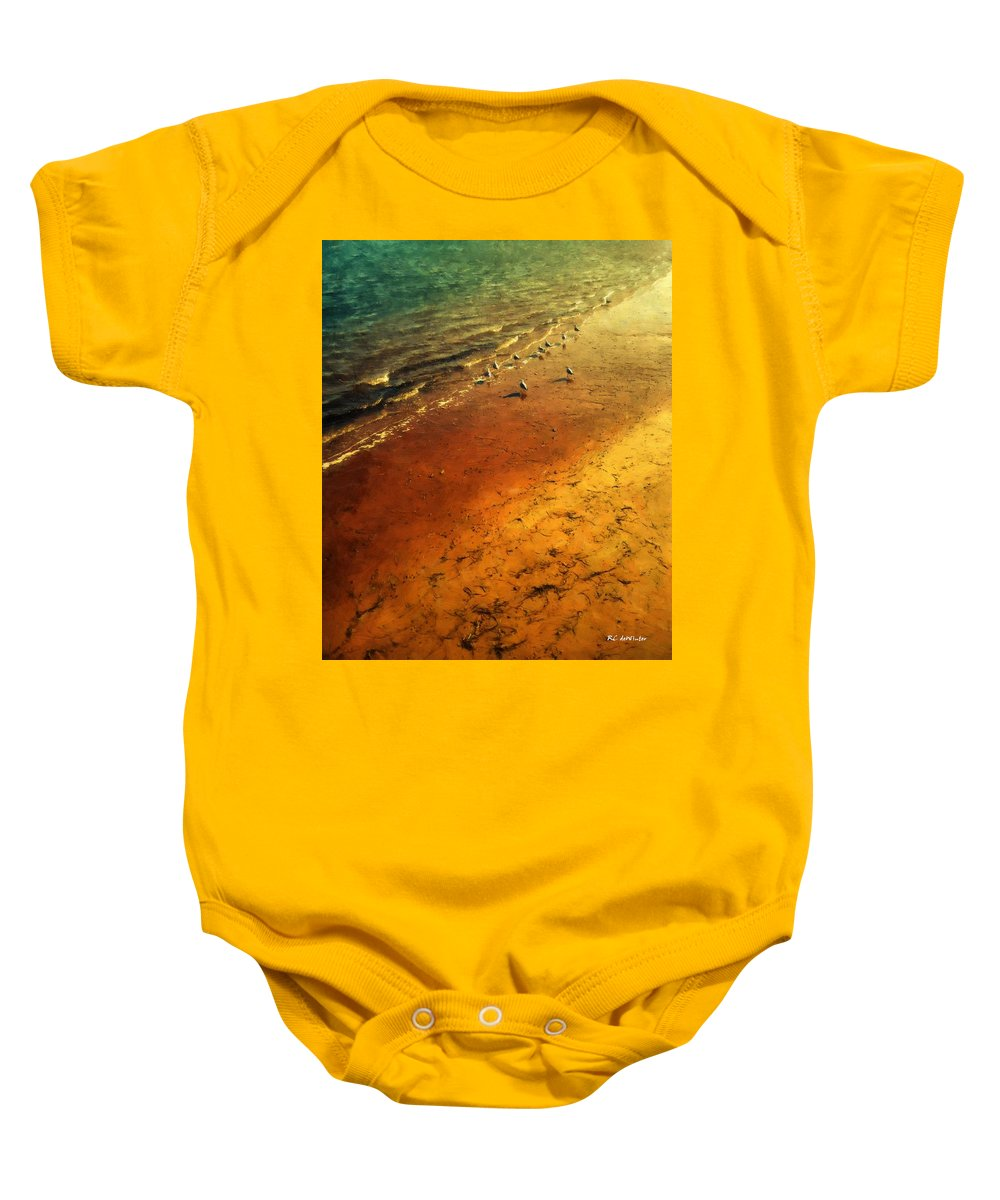 Beach Baby Onesie featuring the painting Seagulls At Sunset by RC DeWinter
