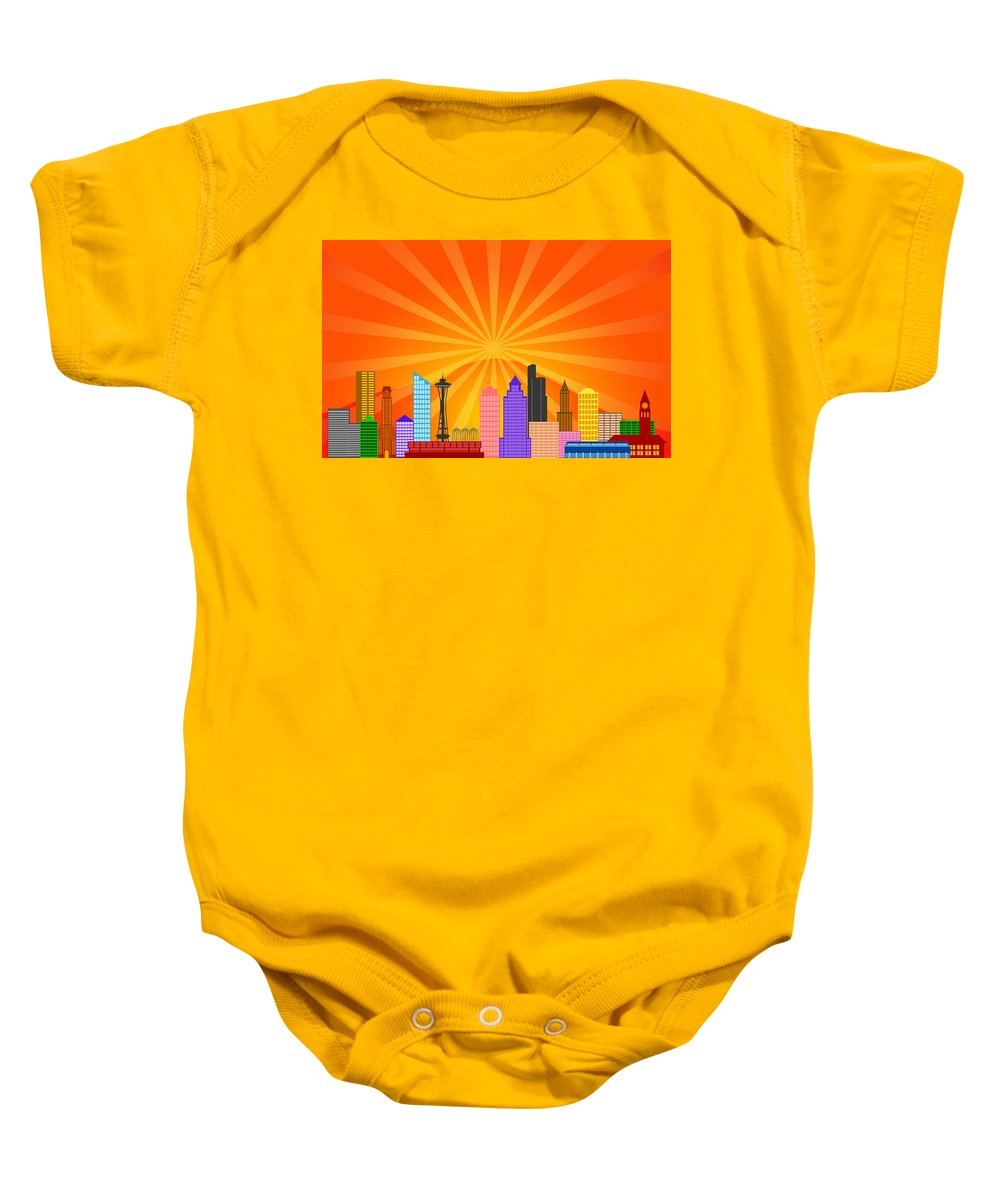 Seattle Baby Onesie featuring the digital art Seattle Washington City Skyline Panorama by Jit Lim