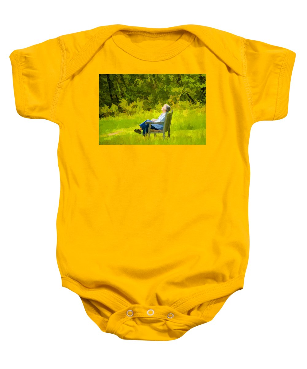 Bench Baby Onesie featuring the photograph Serenity by Donna Doherty