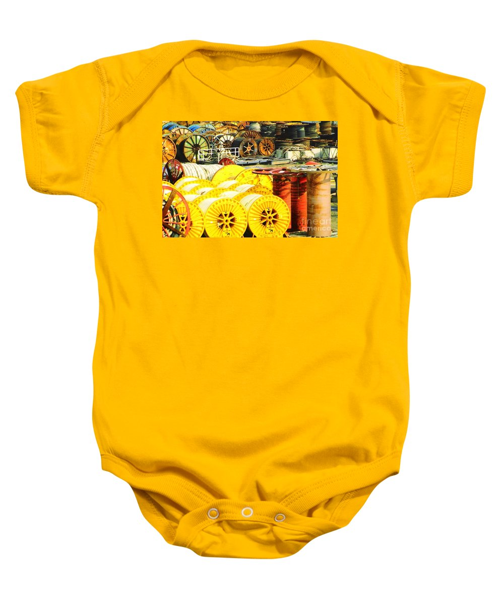 Port Fourchoun Baby Onesie featuring the photograph Sew A Needle Pulling Cable Dockside At Port Fourchoun Louisiana by Michael Hoard