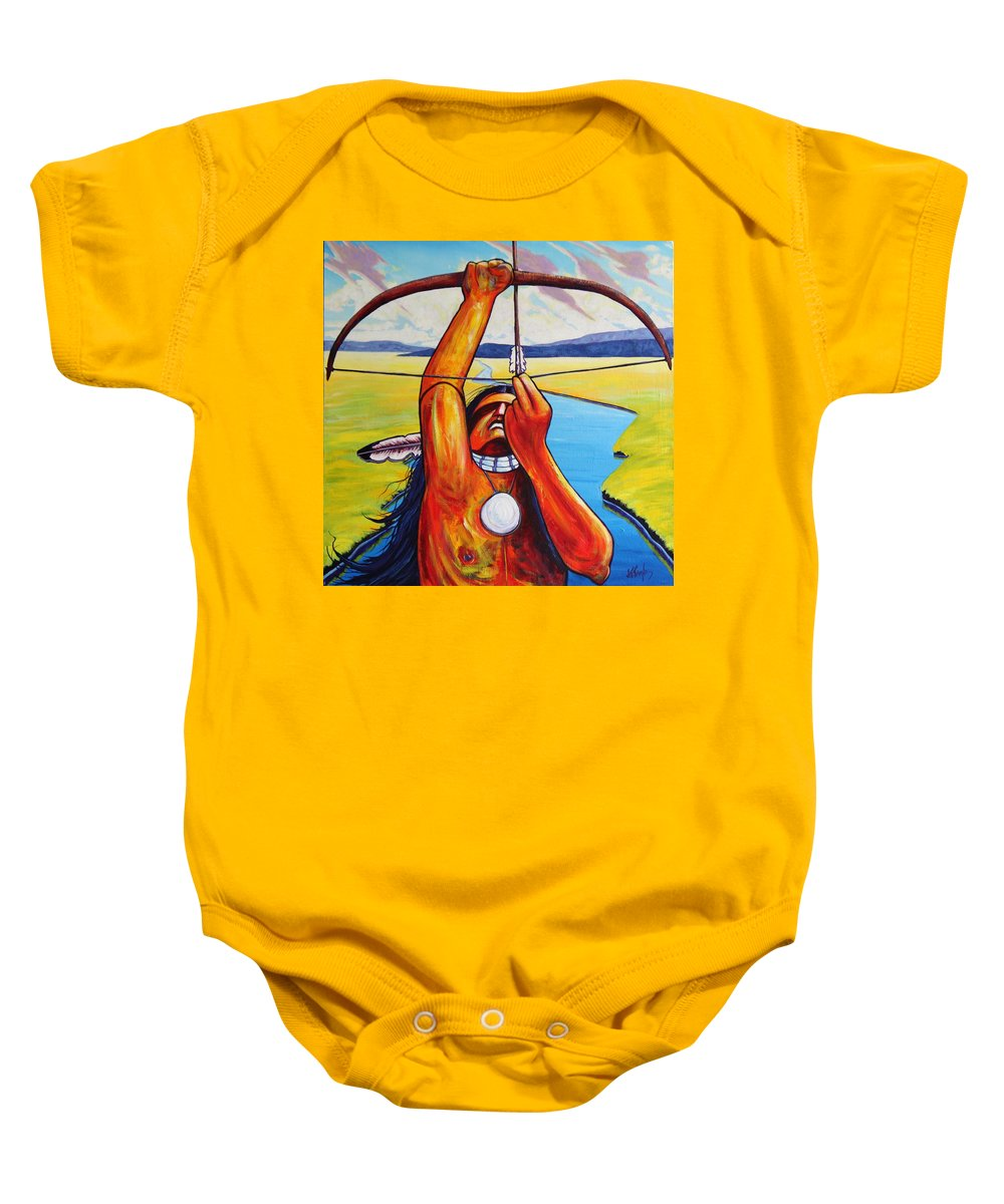 Native American Baby Onesie featuring the painting Shamans Prayer by Joe Triano
