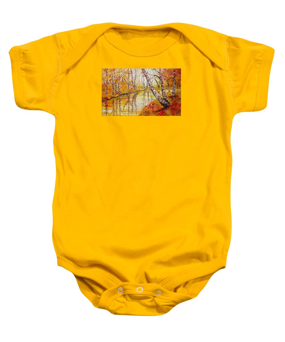 Oil Baby Onesie featuring the painting Silence by Nina Mitkova