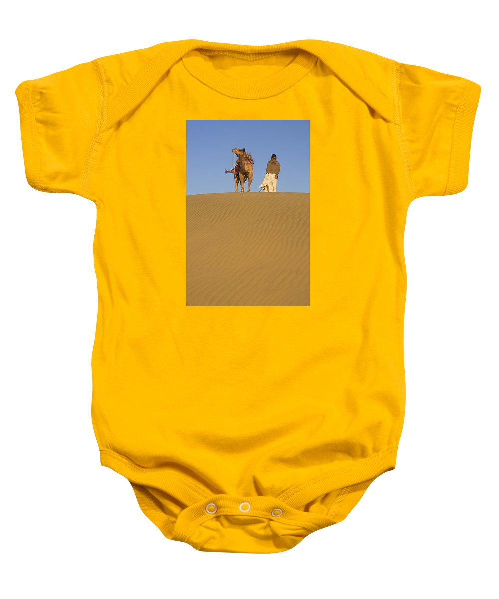 Companions Baby Onesie featuring the photograph Skn 0956 Companions On A Dune by Sunil Kapadia