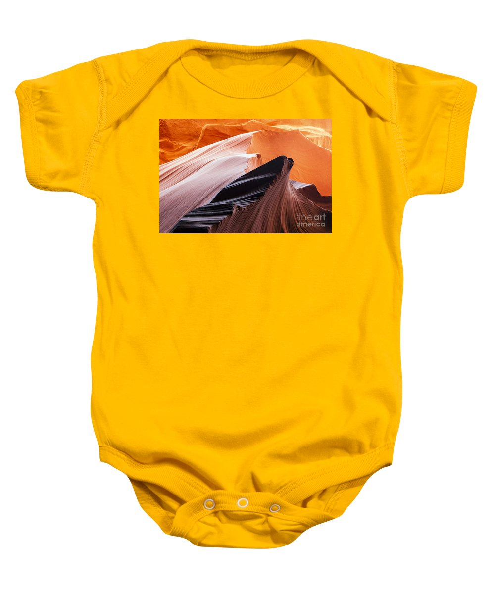 Lower Antelope Slot Canyon Baby Onesie featuring the photograph Slot Canyon Swirl by Bob Phillips