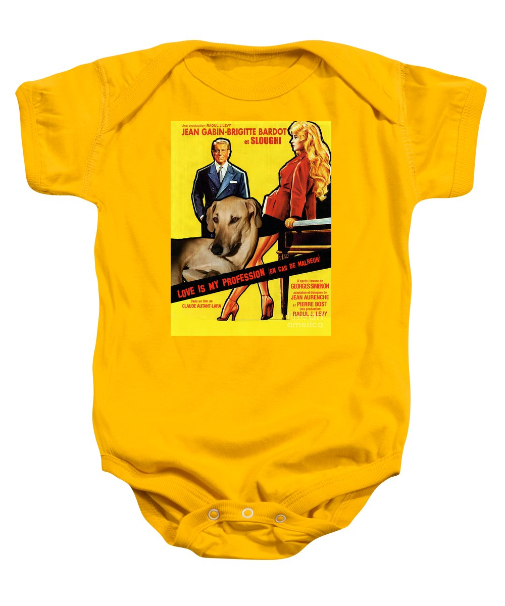 Sloughi Art Baby Onesie featuring the painting Sloughi Art - Love Is My Profession Movie Poster by Sandra Sij