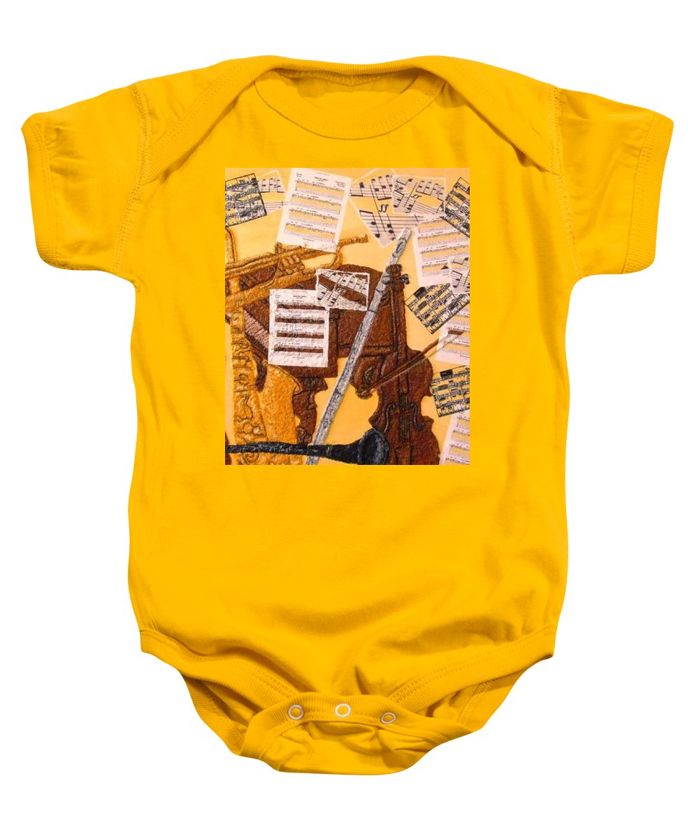 Smooth Jazz Baby Onesie featuring the painting Smooth Jazz by Leslye Miller