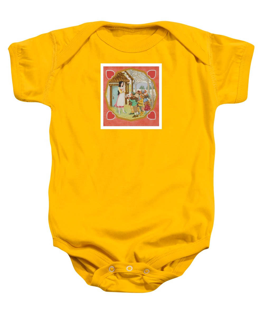 Fairy Tale Baby Onesie featuring the painting Snow White And The Seven Dwarfs by Lynn Bywaters
