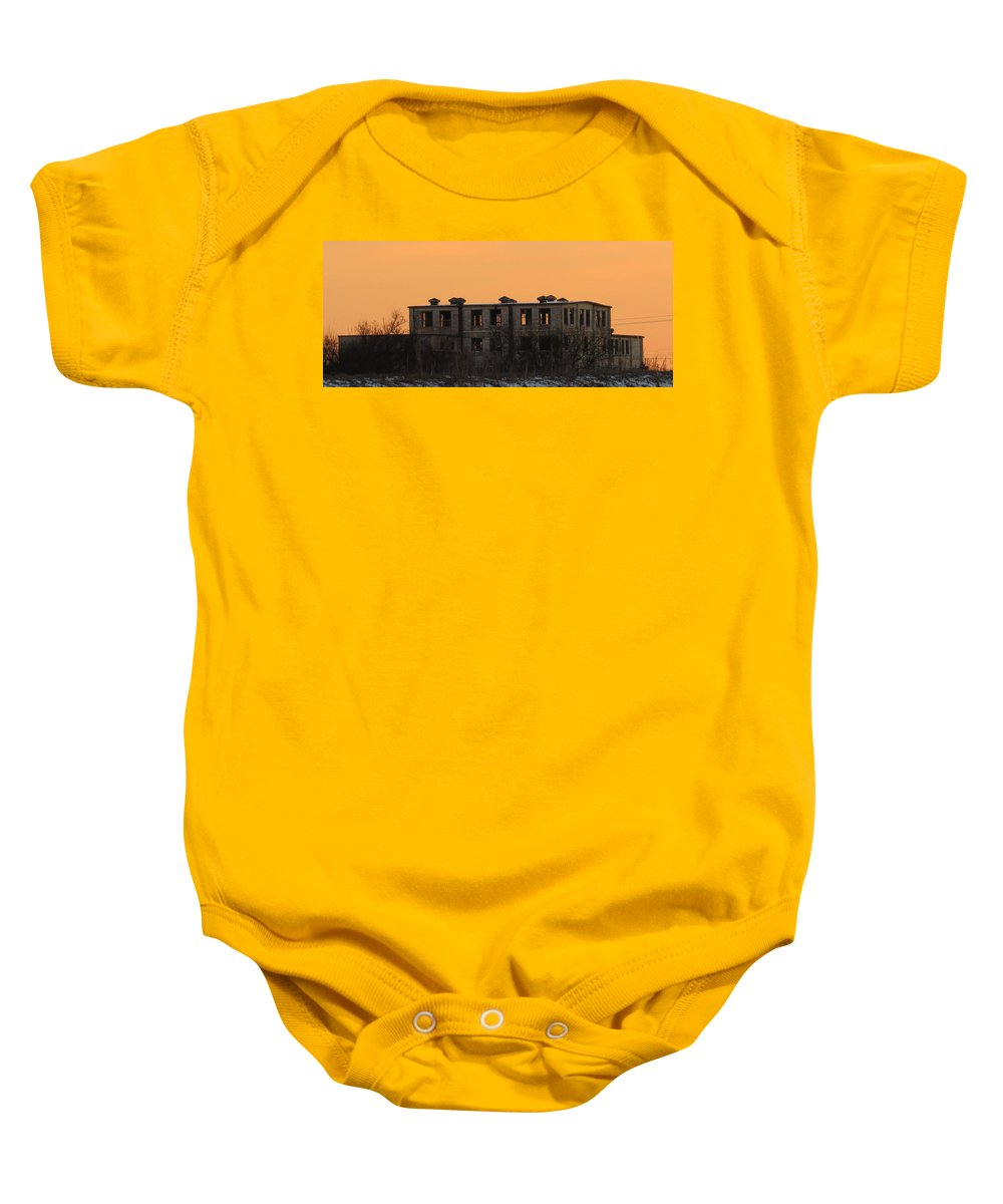 Winter Baby Onesie featuring the photograph snowie sunset in Macon by Aaron Martens