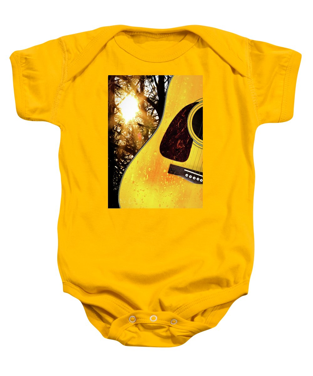 Guitar Baby Onesie featuring the photograph Songs From The Wood by Bob Orsillo