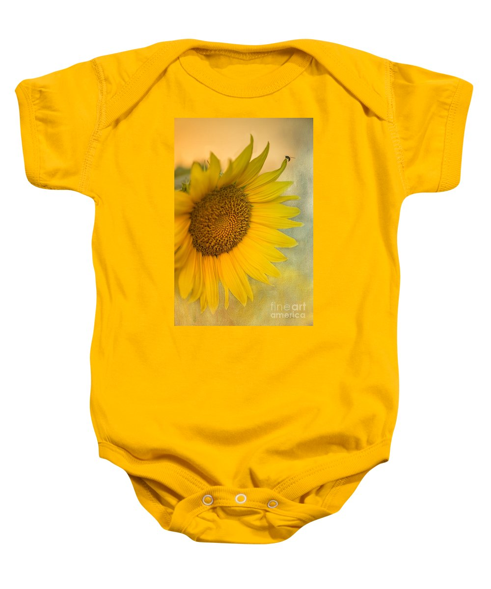 Sunflower Baby Onesie featuring the photograph Star Of The Show by Betty LaRue