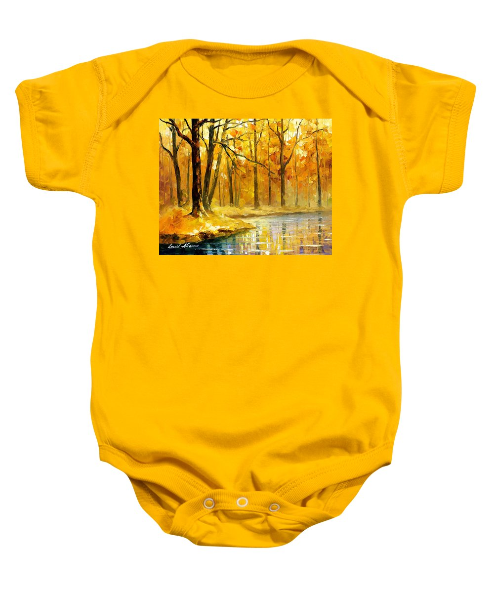 Oil Paintings Baby Onesie featuring the painting Stream In The Forest - Palette Knife Oil Painting On Canvas By Leonid Afremov by Leonid Afremov
