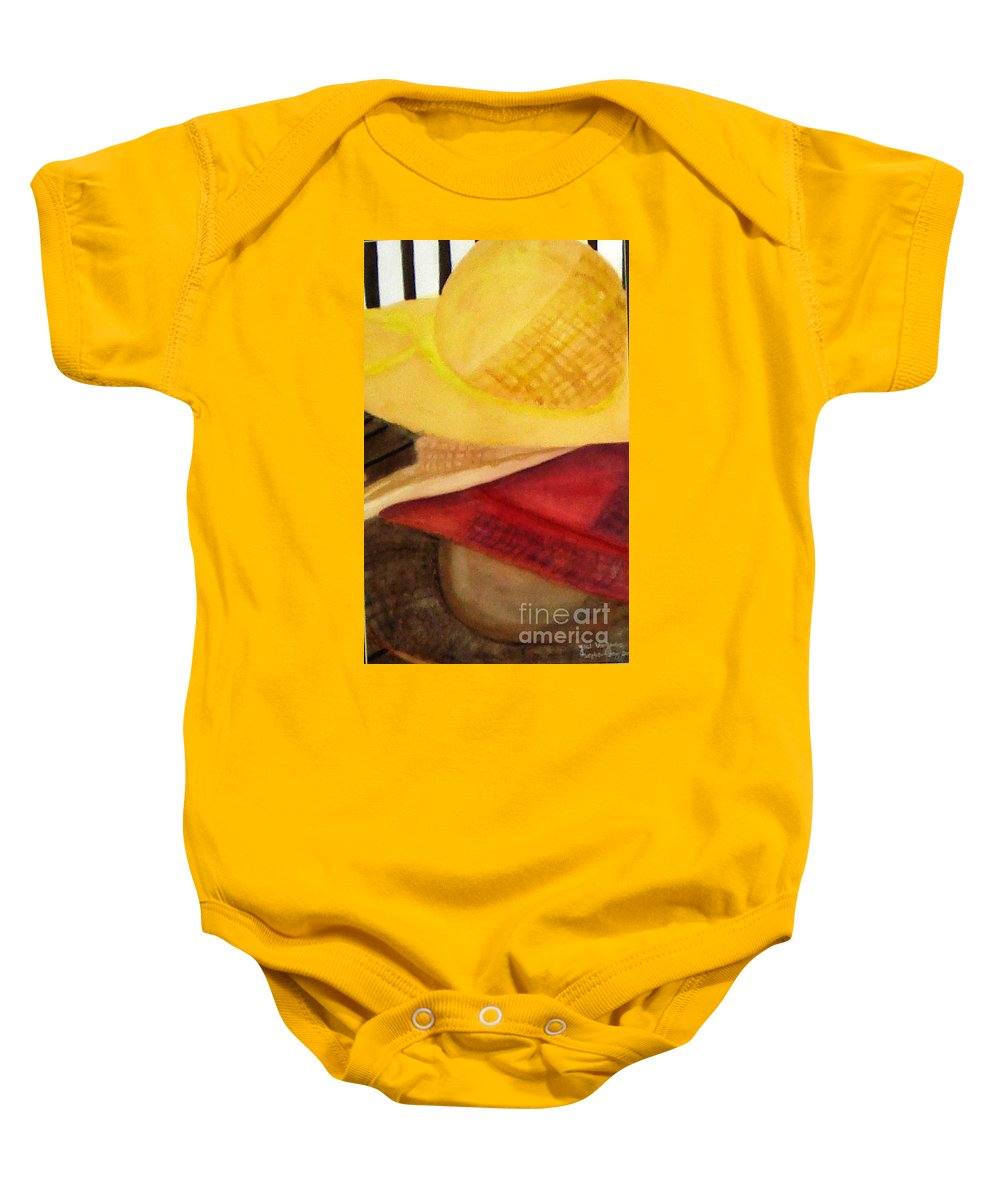 Hats Baby Onesie featuring the painting Stylish by Yael VanGruber