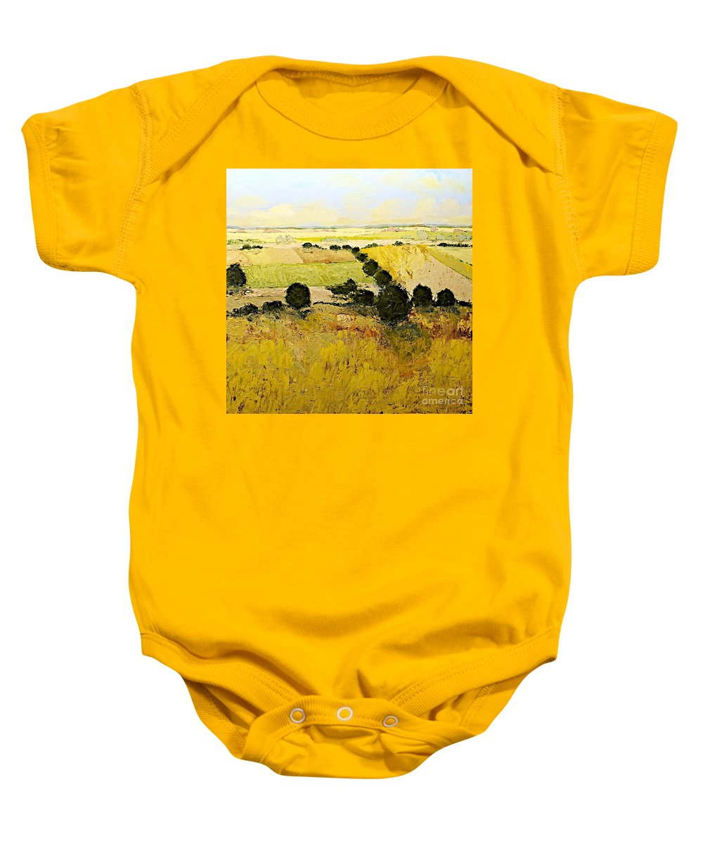 Landscape Baby Onesie featuring the painting Summers End by Allan P Friedlander