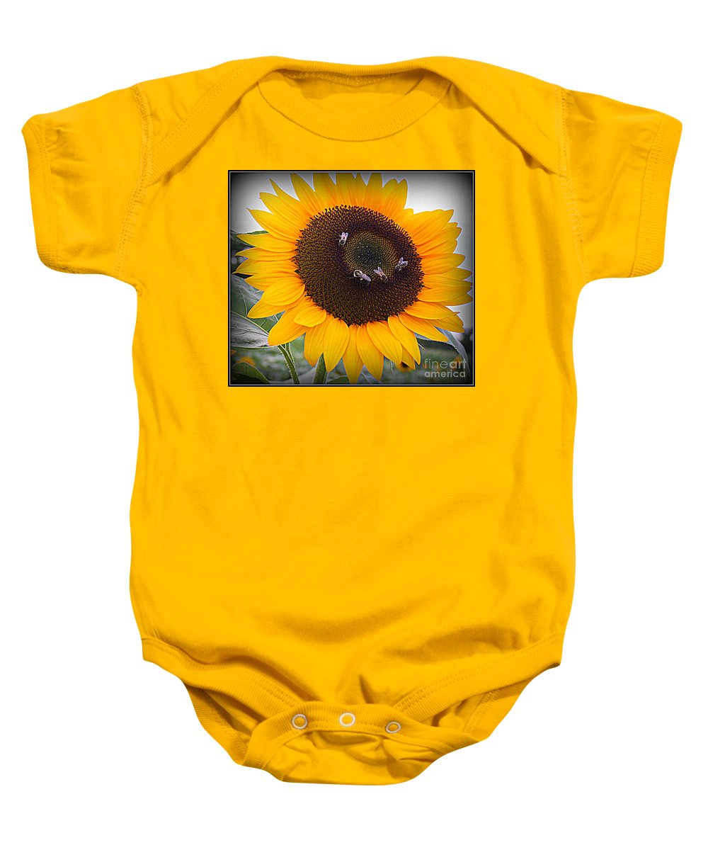 Sunflower Baby Onesie featuring the photograph Summertime Beauty - Sunflower by Dora Sofia Caputo Photographic Design and Fine Art