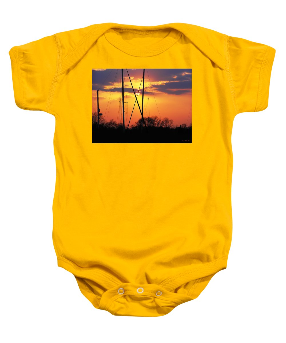 2d Baby Onesie featuring the photograph Sun And Masts by Brian Wallace