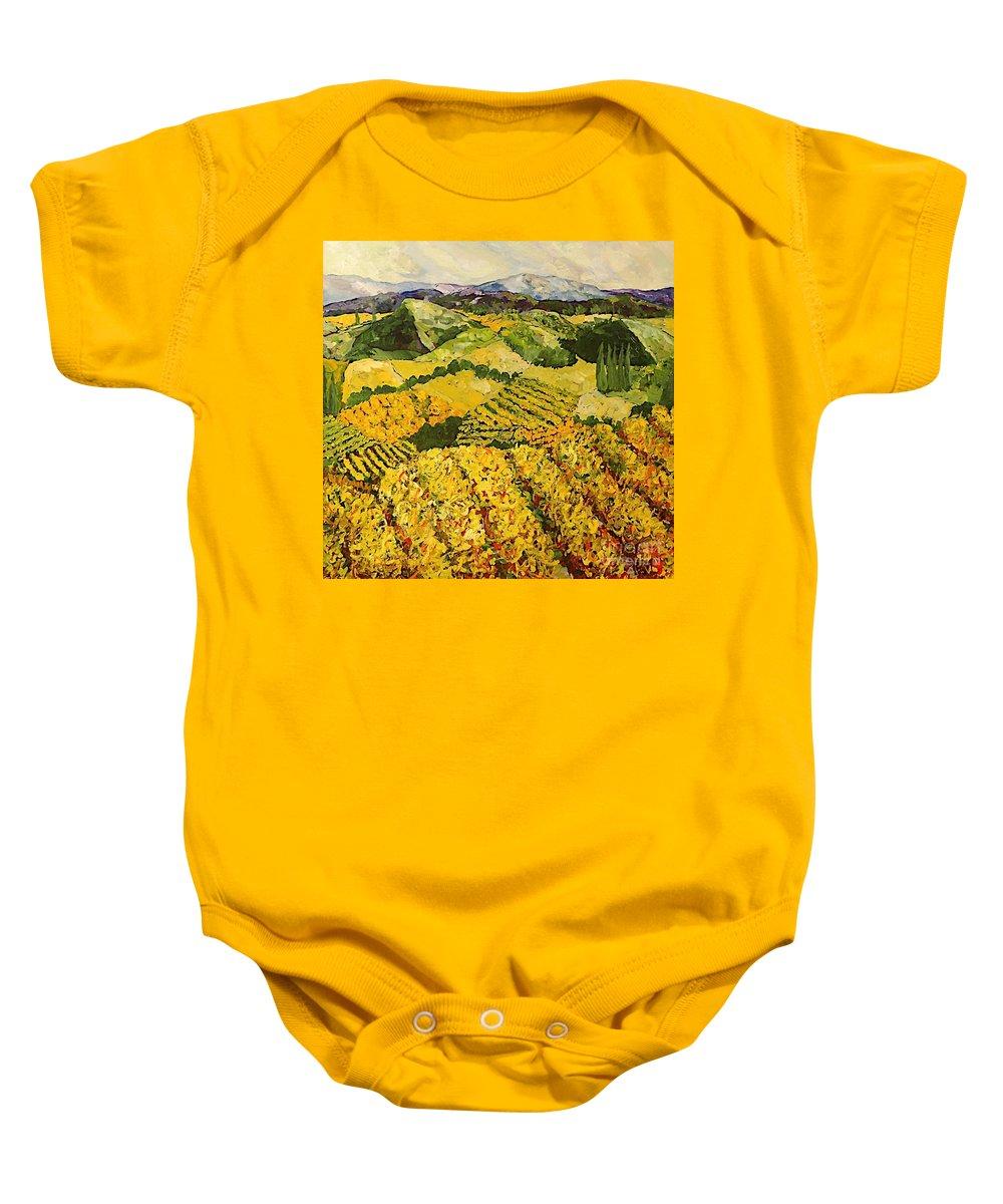 Landscape Baby Onesie featuring the painting Sun Harvest by Allan P Friedlander
