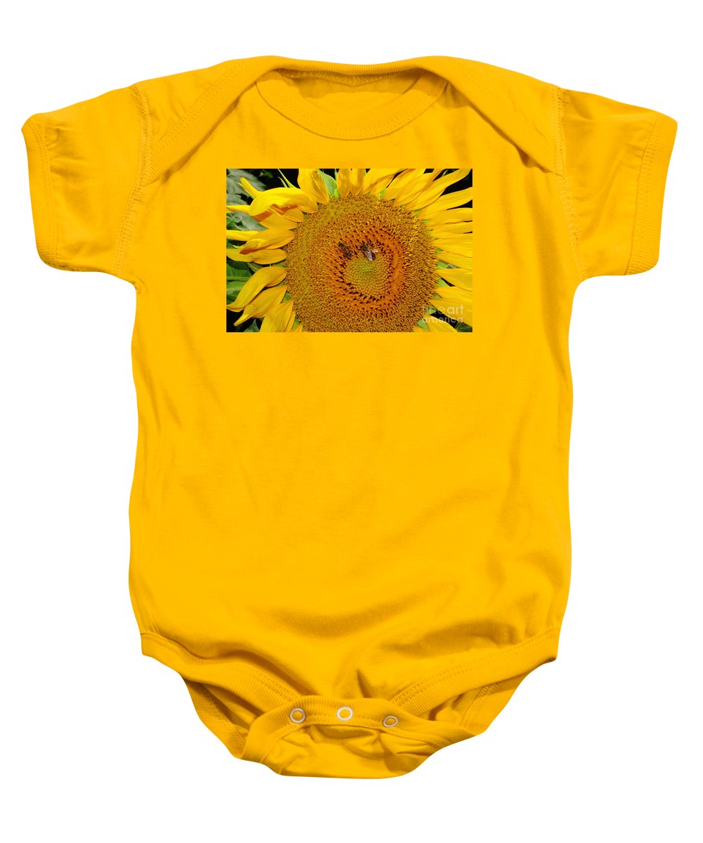 Sunflower Baby Onesie featuring the photograph Sunflower And Bees by Robert Frederick