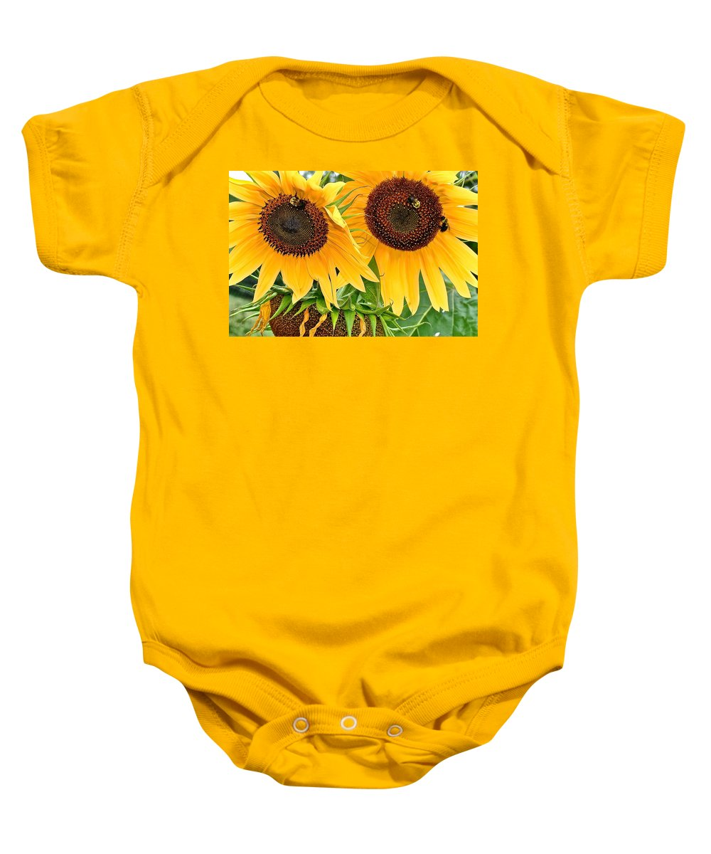Close Baby Onesie featuring the photograph Sunflower Close Up by Frozen in Time Fine Art Photography