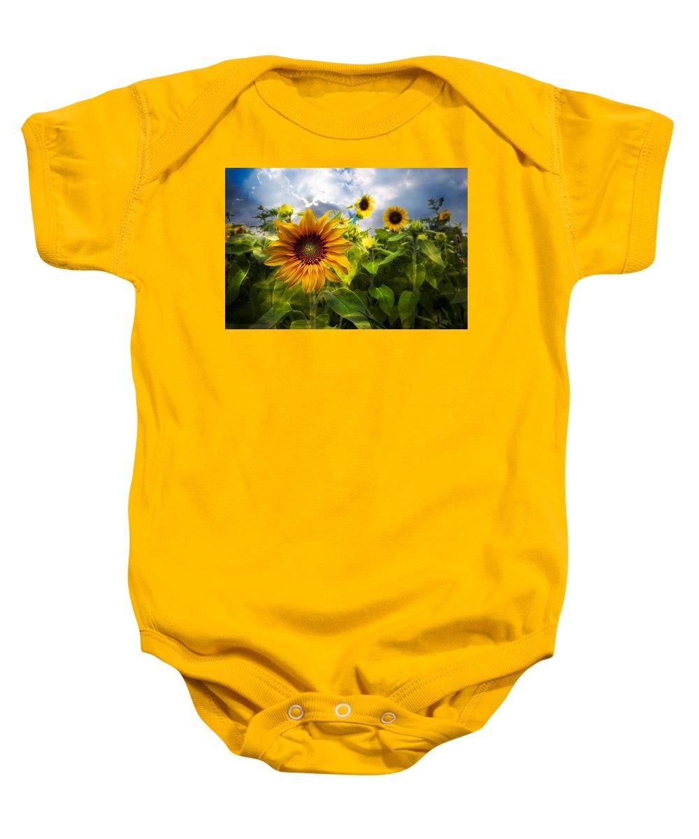 Clouds Baby Onesie featuring the photograph Sunflower Dream by Debra and Dave Vanderlaan