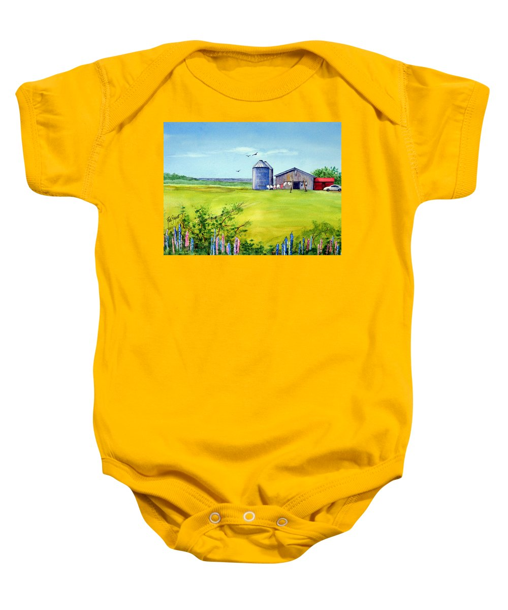 Prince Edward Island Baby Onesie featuring the painting Sunkissed And Windblown Lupines And Laundry In Pei by Ruth Bodycott