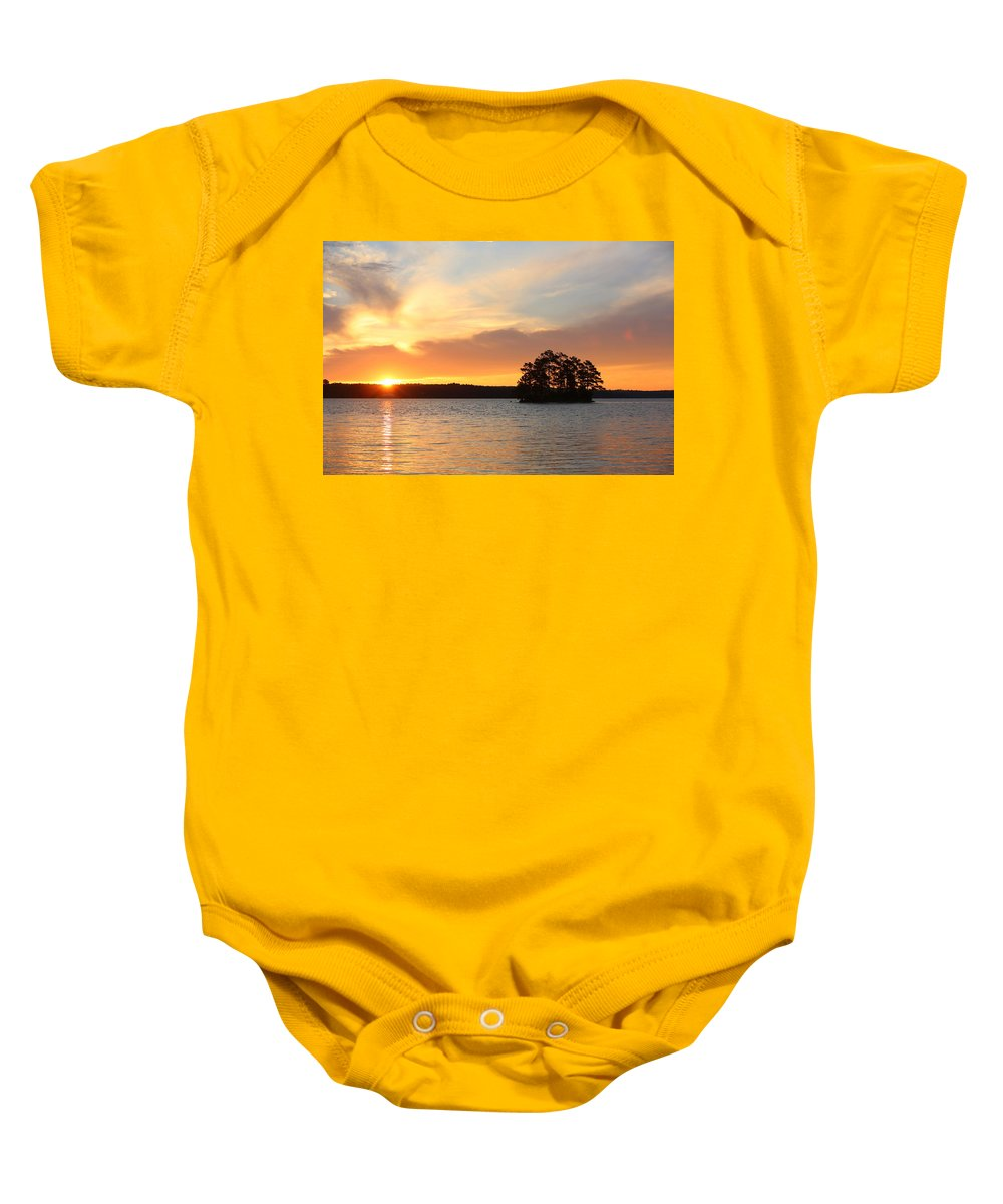 Sunrise Baby Onesie featuring the photograph Sunrise At The Lake by Lisa Reid
