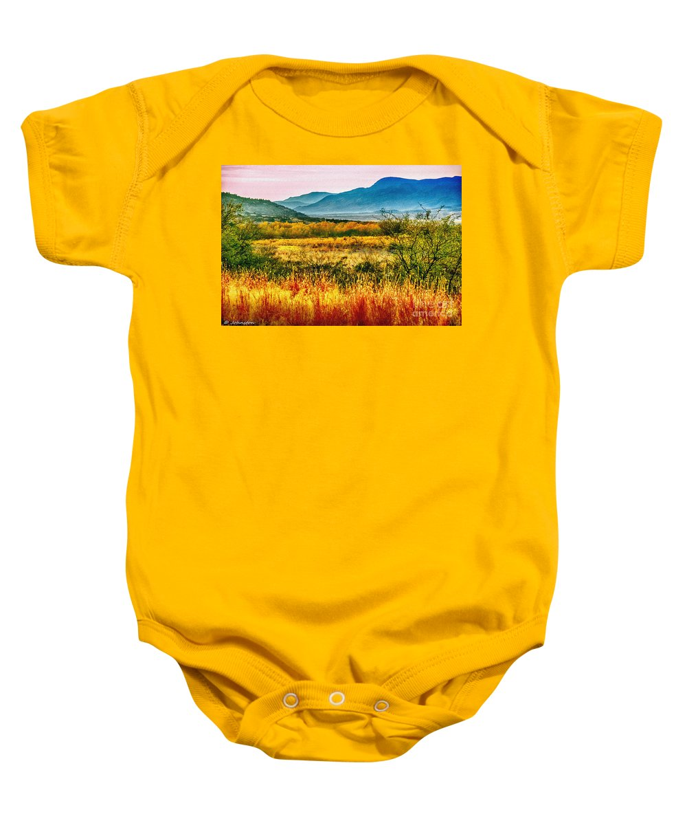 Sunrise Baby Onesie featuring the photograph Sunrise In Verde Valley Arizona by Bob and Nadine Johnston