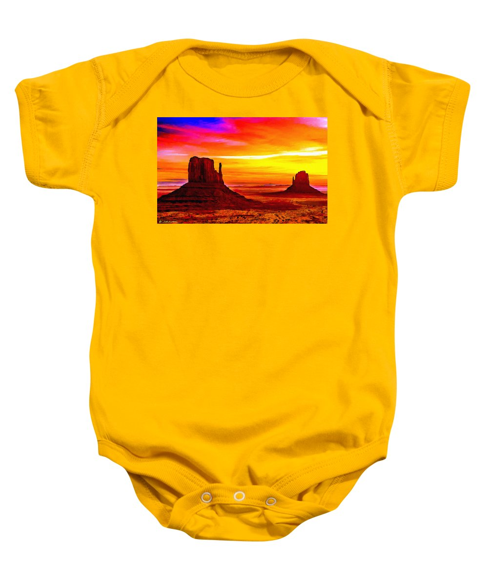Arizona Baby Onesie featuring the painting Sunrise Monument Valley Mittens by Bob and Nadine Johnston