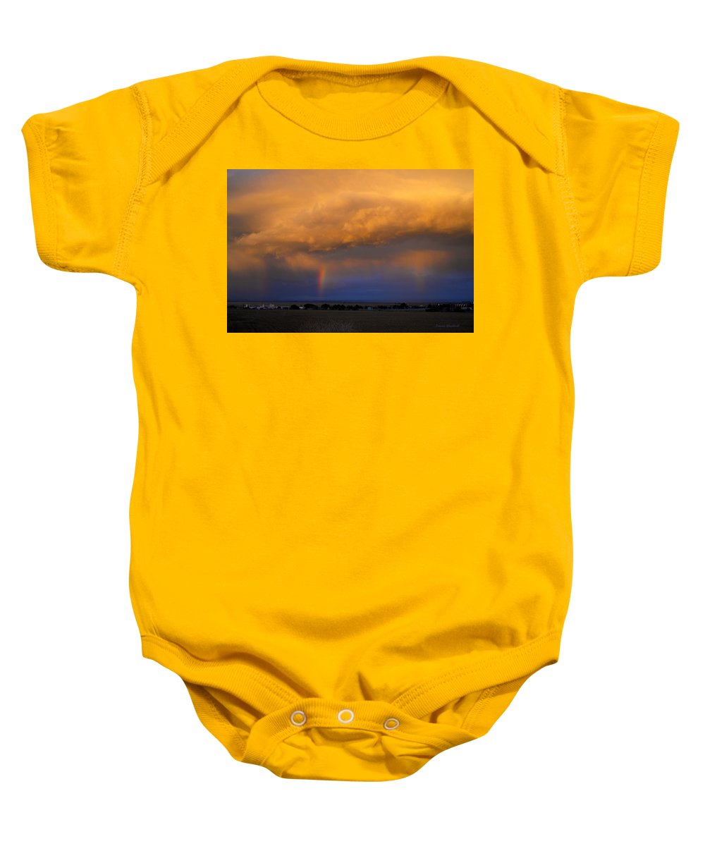 Sunset Baby Onesie featuring the photograph Sunset And Rainbows by Donna Blackhall