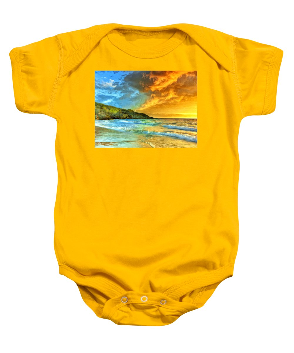 Sunset Baby Onesie featuring the painting Sunset At Hapuna Beach by Dominic Piperata