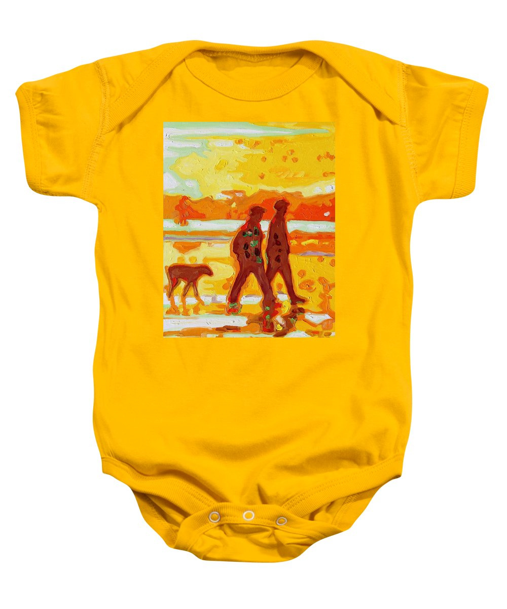 Sunset Beach Walk Baby Onesie featuring the painting Sunset Silhouette Carmel Beach With Dog by Thomas Bertram POOLE