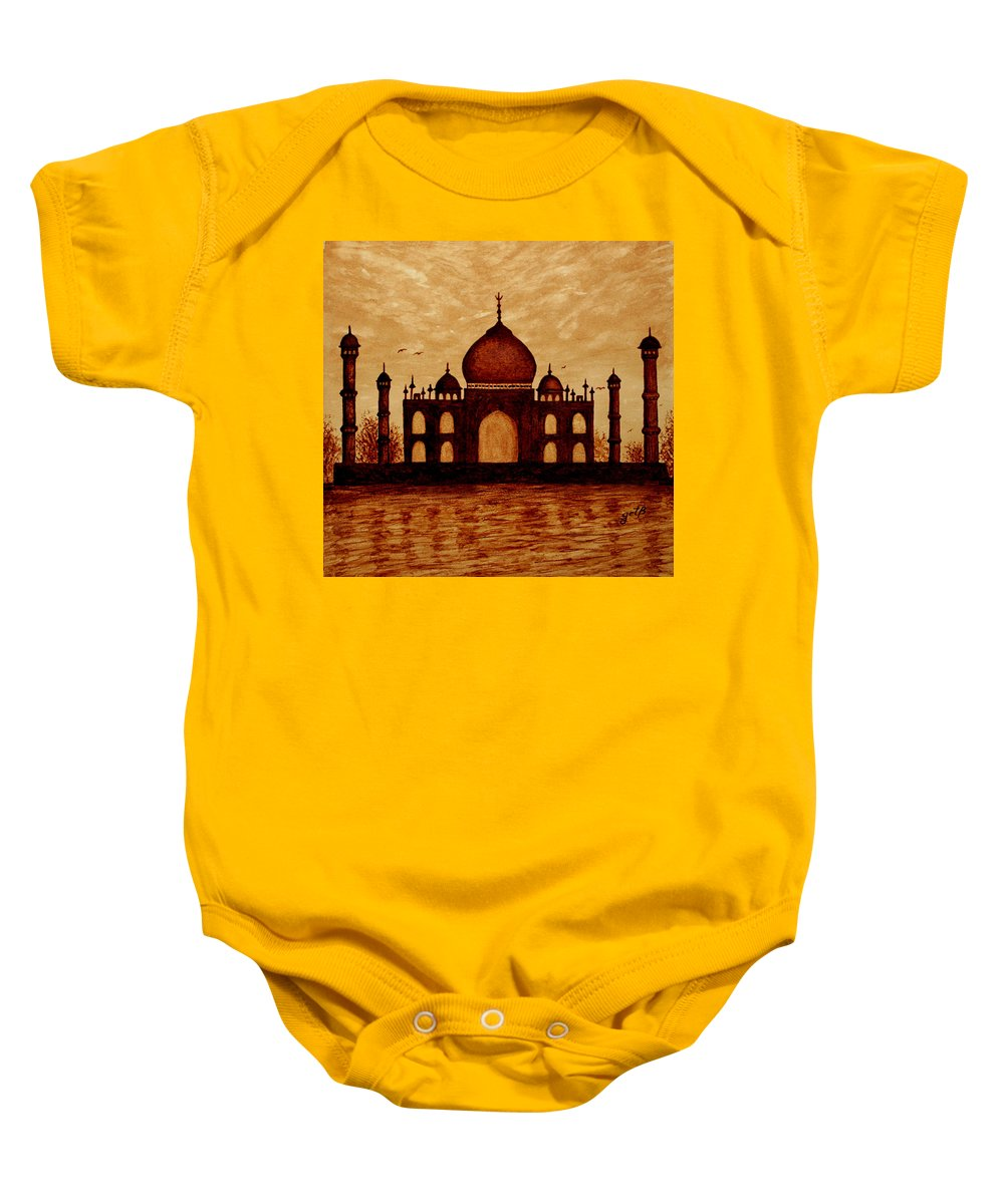 Taj Mahal Baby Onesie featuring the painting Taj Mahal Lovers Dream Original Coffee Painting by Georgeta Blanaru