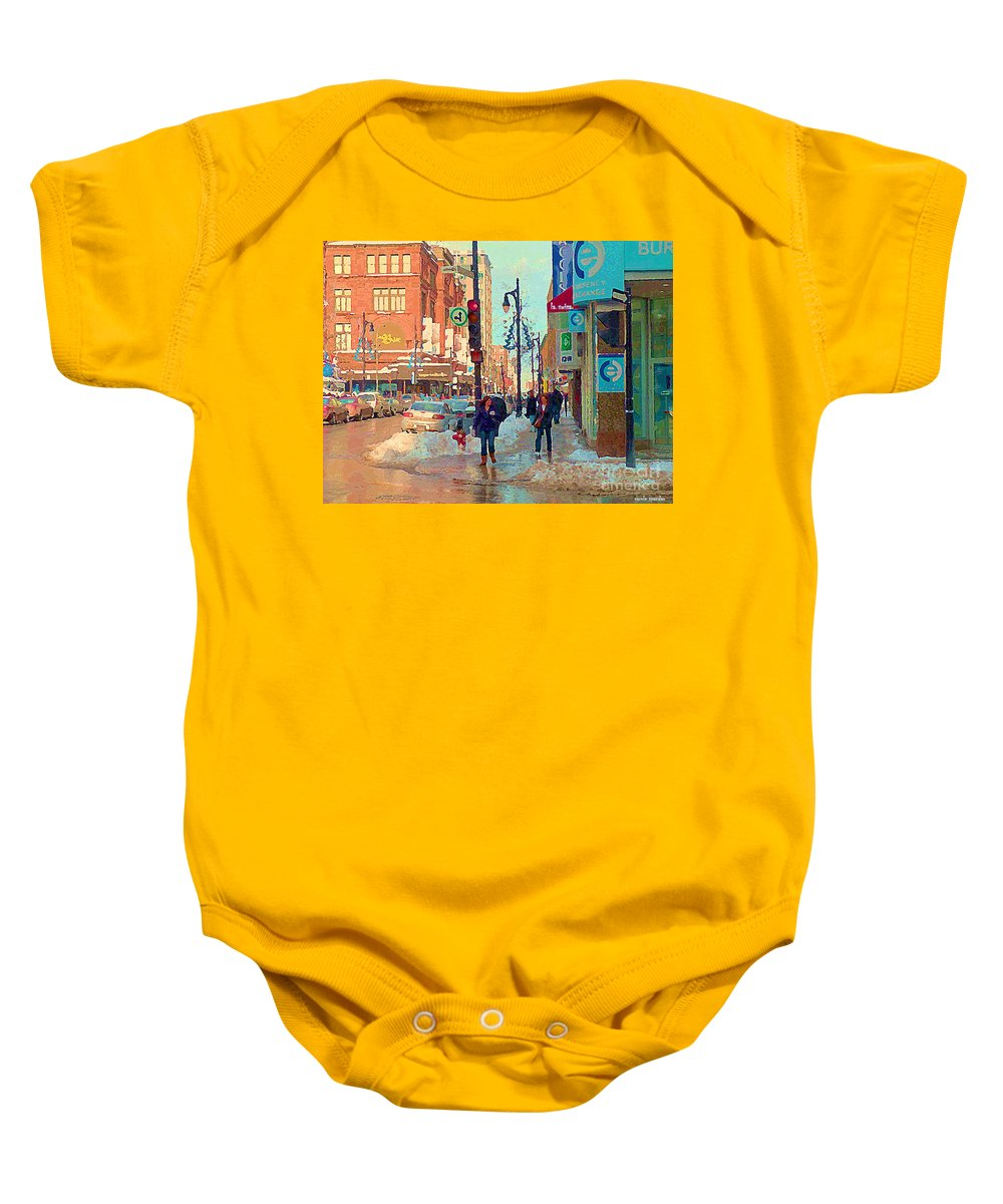 Downtown Montreal Baby Onesie featuring the painting The Bay Department Store Downtown Montreal University And St Catherine Winter City Scene C Spandau by Carole Spandau