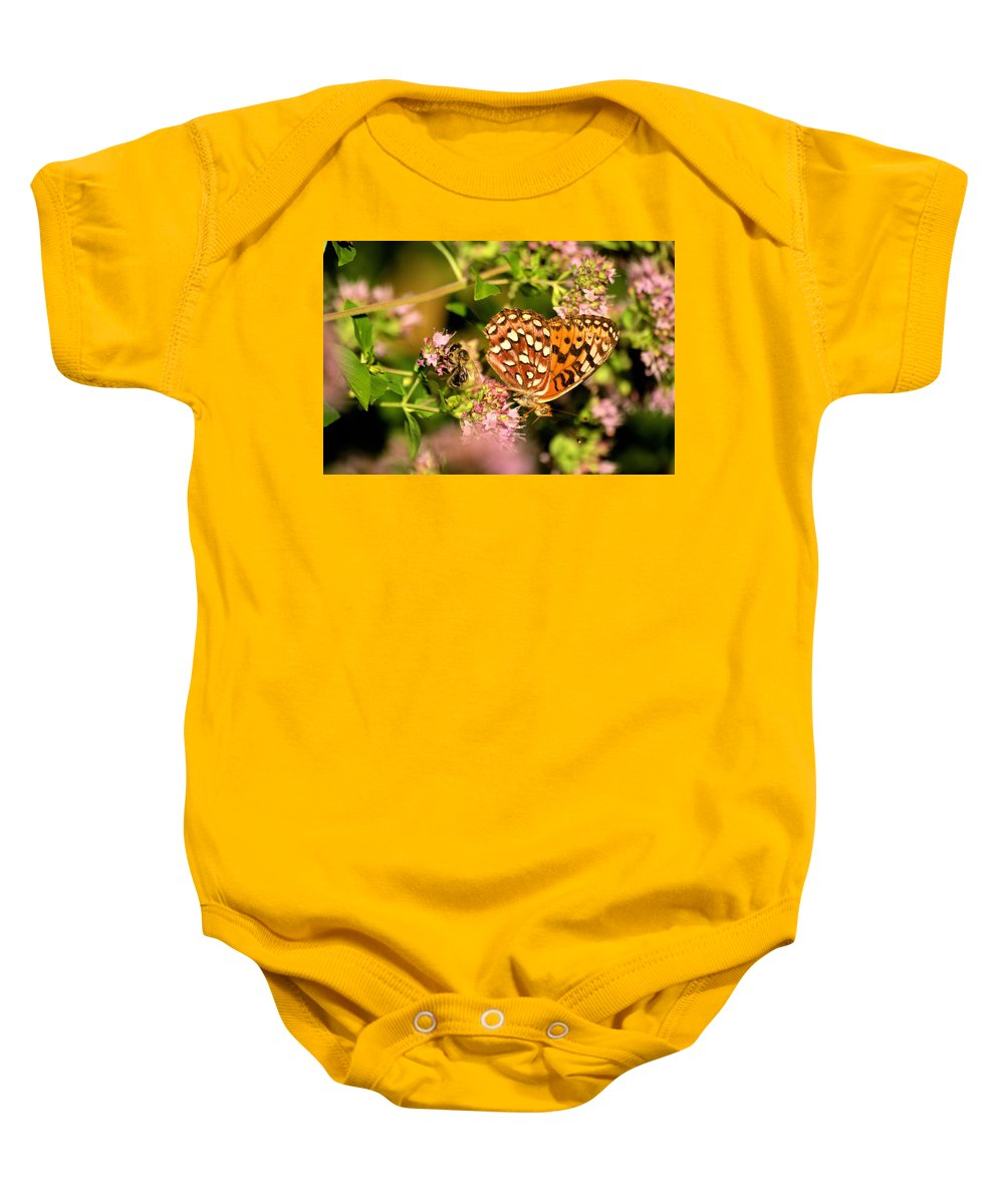 Bee Baby Onesie featuring the photograph The Bee And The Butterfly by John Greaves