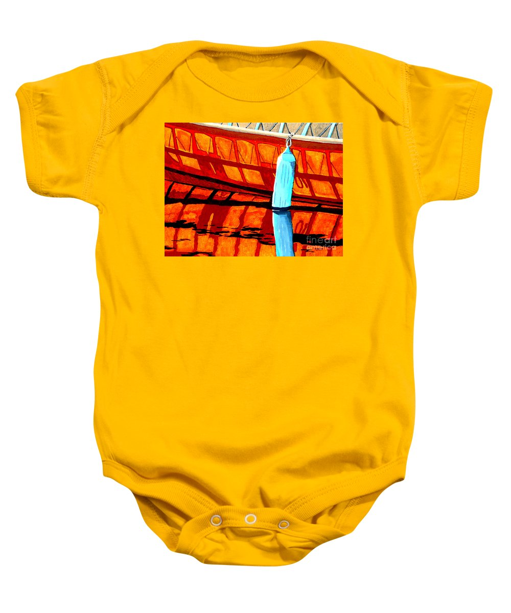 Canoe Baby Onesie featuring the painting The Blue Fender by Anthony Dunphy