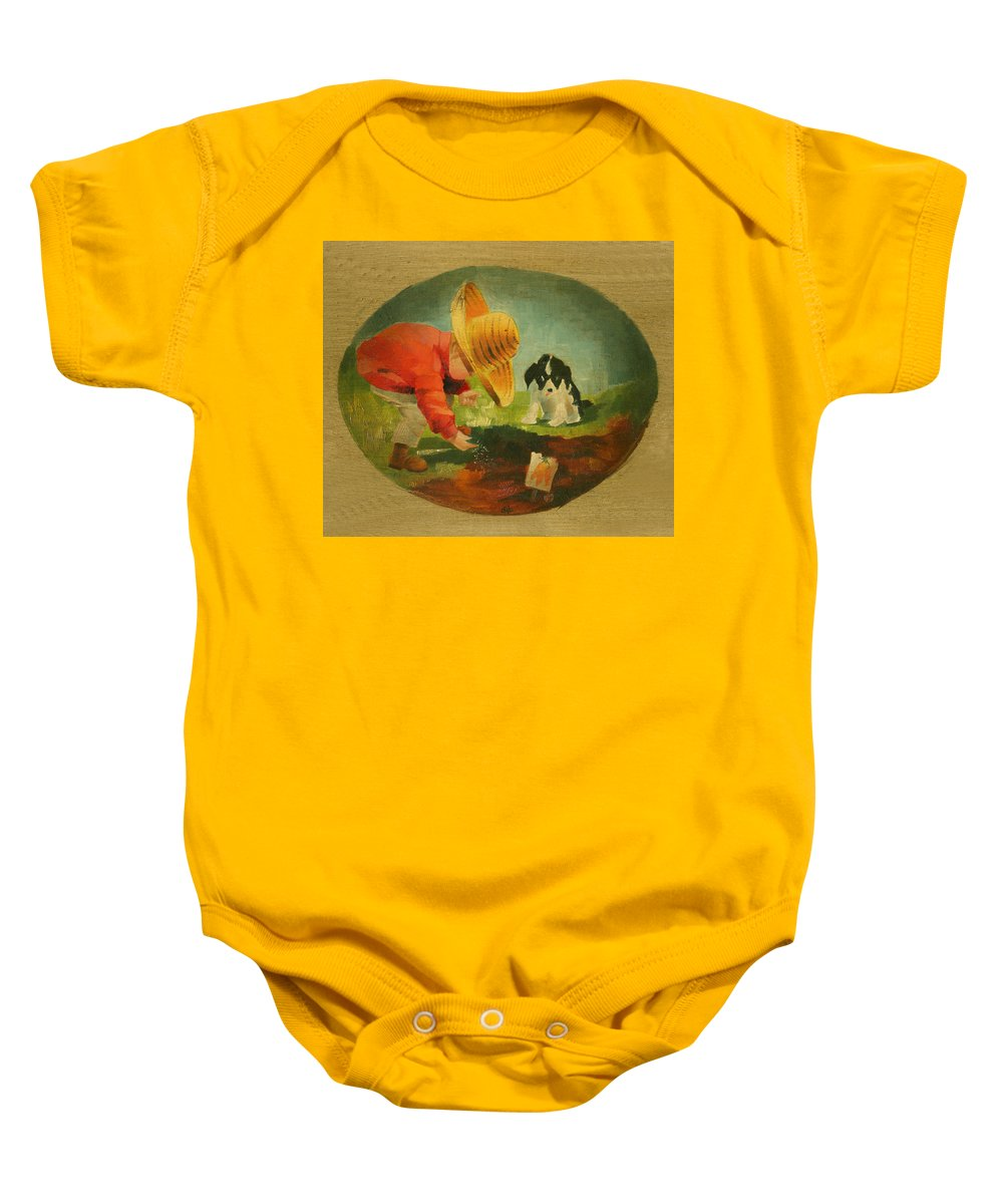 Mea Fine Art Baby Onesie featuring the painting The Gardeners by Doreta Y Boyd