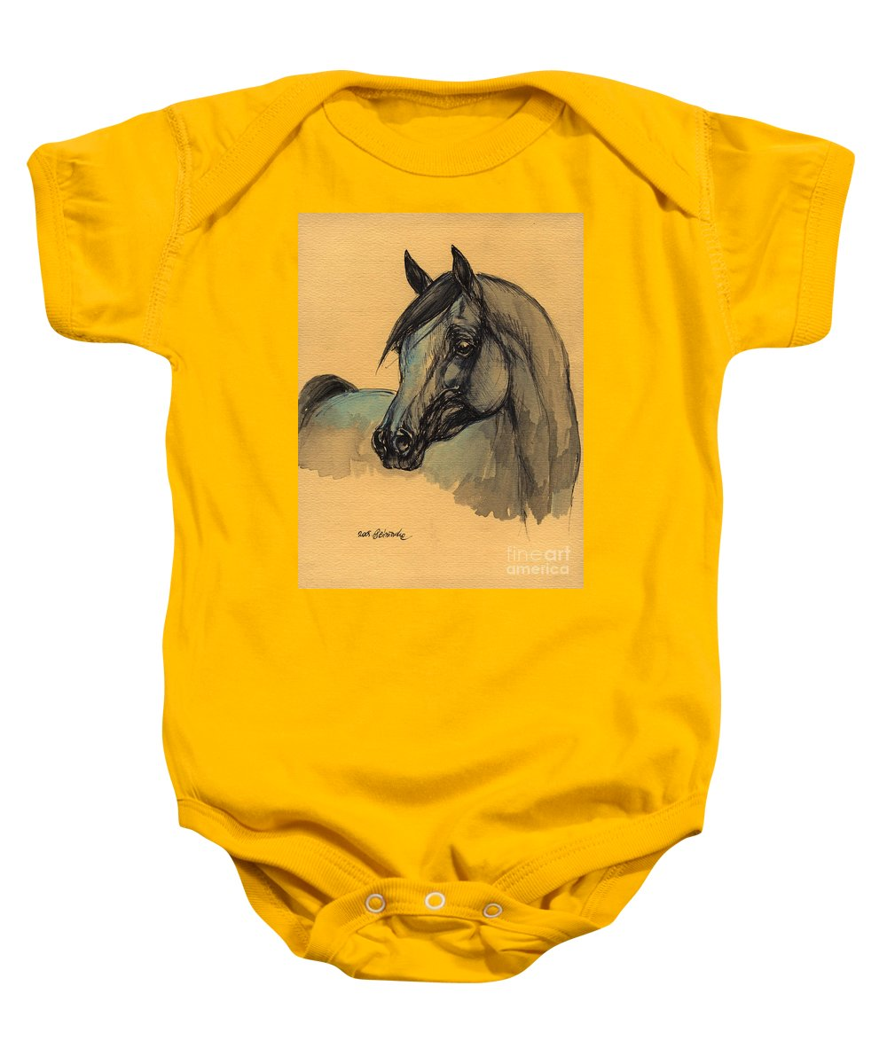 Horse Baby Onesie featuring the painting The Grey Arabian Horse 1 by Angel Ciesniarska