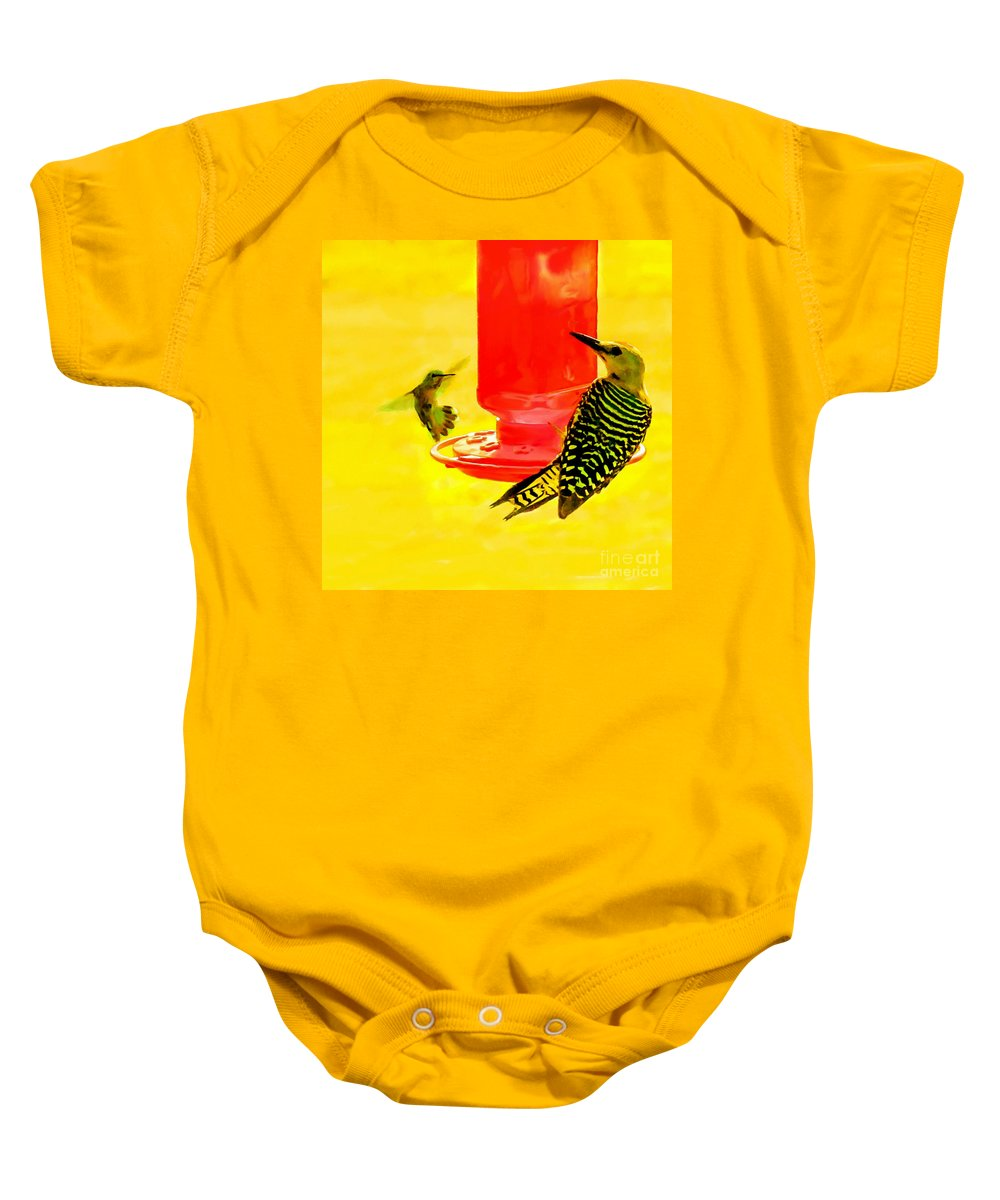 Hummingbird Baby Onesie featuring the painting The Humming Bird And Gila Woodpecker by Bob and Nadine Johnston