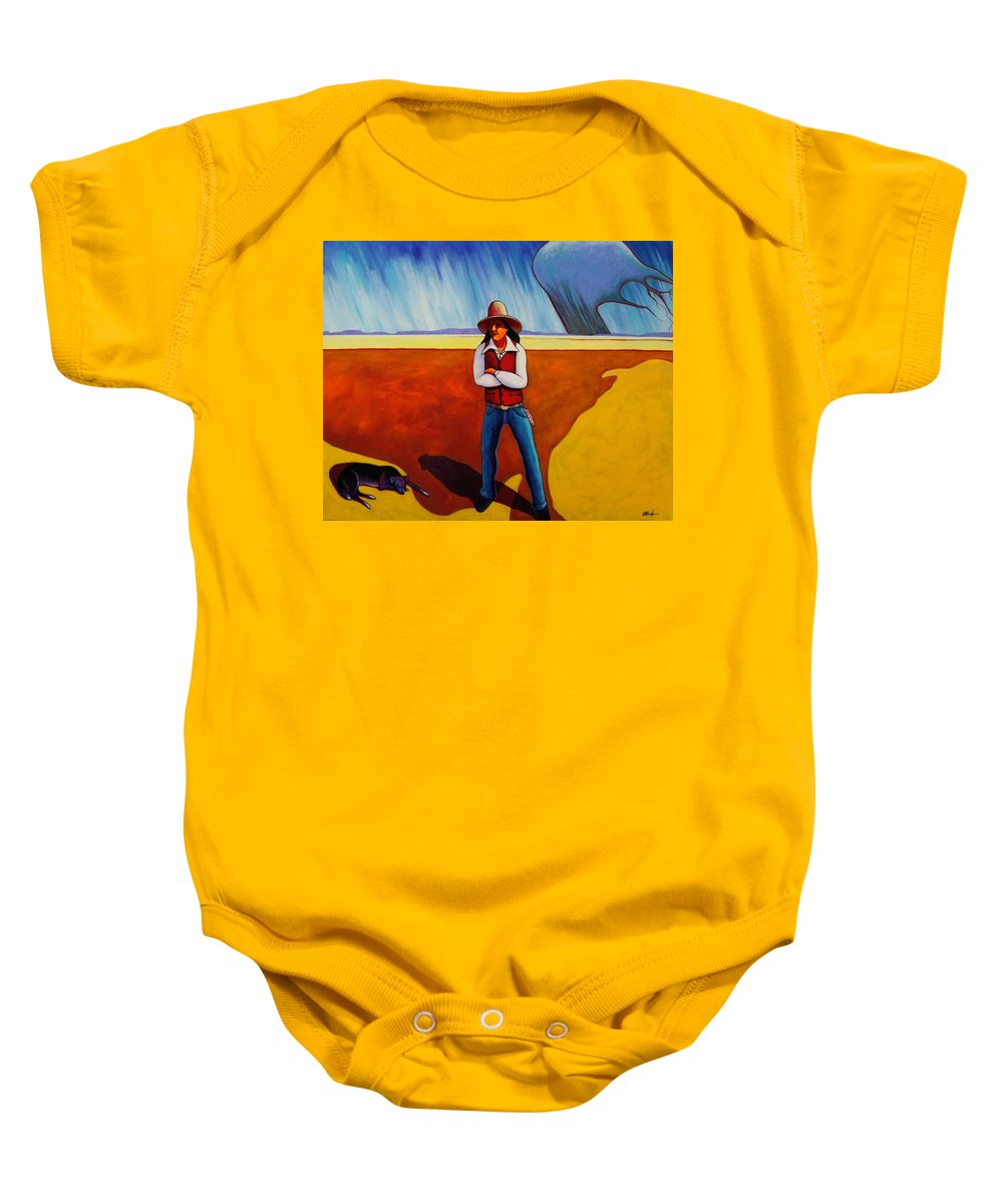 Native American Baby Onesie featuring the painting The Logic Of Solitude by Joe Triano
