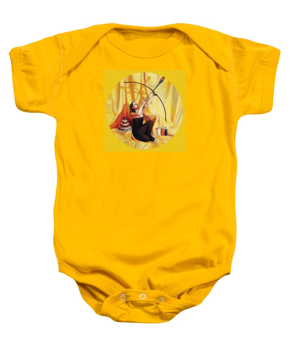 Shelley Irish Baby Onesie featuring the painting The Markswoman by Shelley Irish