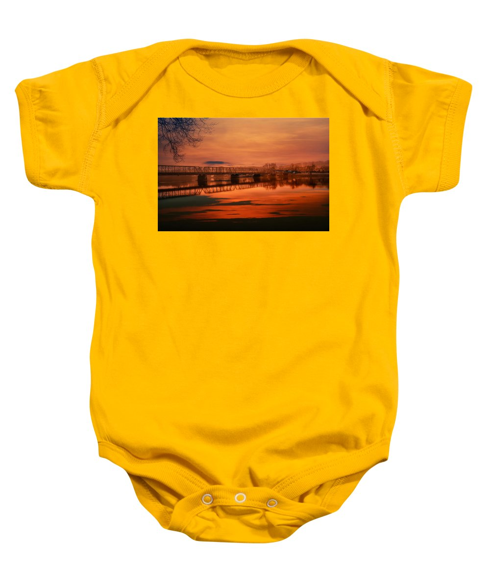 New Hope Baby Onesie featuring the photograph The New Hope Bridge by Bill Cannon