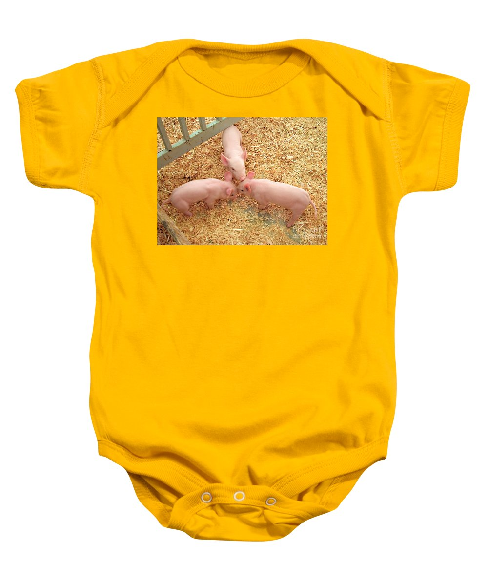 Pigs Baby Onesie featuring the photograph Three Little Pigs by Jennie Breeze